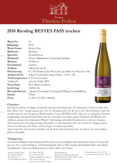 Expertise Riesling Bestes Fass Günterslay